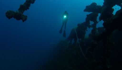 Scuba diving in British Loyalty Wreck in the Maldives