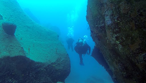 Scuba diving in Northern mountain in Greece