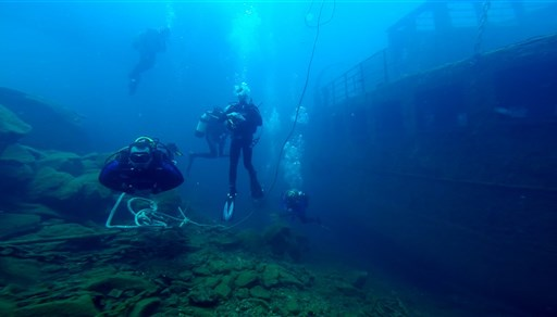 Scuba diving in Taxiarchis Wreck, Santorini in Greece