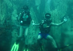 Scuba diving in Barracuda Lake in Philippines