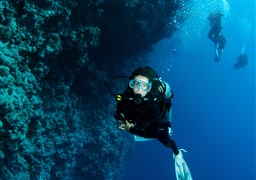 Scuba diving in Blue Hole in Egypt
