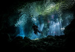 Scuba diving in Cenote TAJMA HA in Mexico
