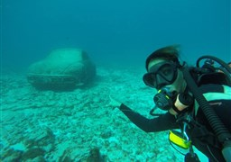 Scuba diving in MUSA Underwater Museum in Mexico
